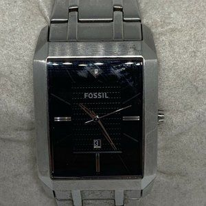 Fossil Mens Stainless Steel Black Dial Watch Aa401